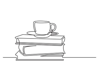 one line drawing of isolated vector object - books and cup of tea