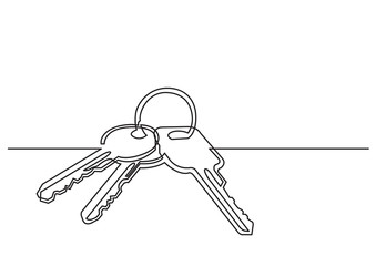 one line drawing of isolated vector object - keys