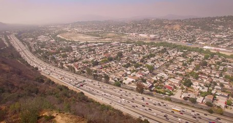 Fototapete - Pan around Los Angeles cityscape from the valley to downtown skyline. 4K UHD