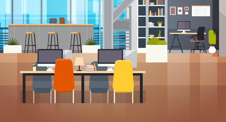 Coworking Space Interior Modern Coworking Office Creative Workplace Space Flat Vector Illustration