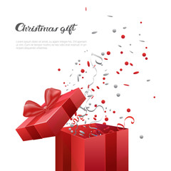 Christmas Gift Box New Year Present Template Banner With Copy Space Flat Vector Illustration