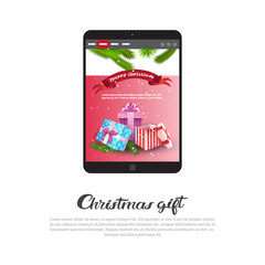 Christmas Gift Poster With Modern Digital Tablet Holday Sale And Discount Concept Vector Illustration