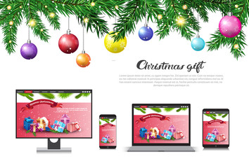 Holiday Sale On Modern Devices Christmas Gift Concept New year Discounts Advertising Poster Vector Illustration