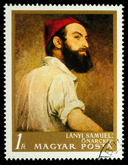 Selfportrait by Hungarian painter Samuel Lanyi on postage stamp