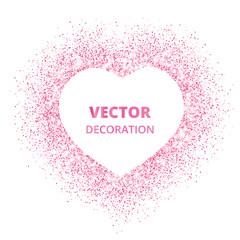 Pink glitter heart frame, border. Vector dust isolated on white