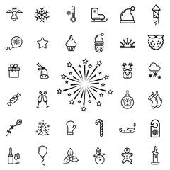 firework. winter, celebration, christmas line icon set