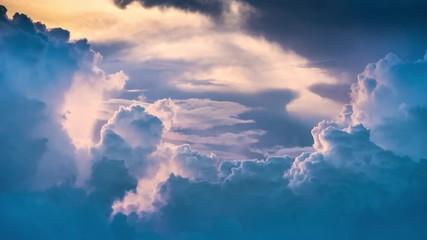 Fotobehang - Epic storm tropical clouds at sunset. 4K UHD Timelapse.