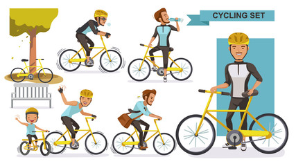 Cycling man set. male road cyclist. guy riding urban bicycle  in helmet. Ride the bike together with the boys. city bike Relax in the park, exercise, Go to work. Biker culture concept. cartoon vector