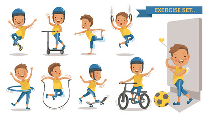 Exercise boy set with play football, rope jumping, Roller Blade, Scooter, yoga,hang,