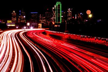 The night scene of downtown Dallas, Texas