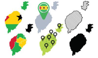 Set of Sao Tome and Principe Map Vector