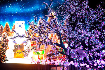 White bear LCD and light decorate beautiful on white bear and Christmas Tree Celebration in Bangkok city,Thailand.