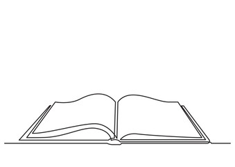 one line drawing of isolated vector object - open book