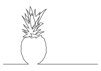 one line drawing of isolated vector object - pine apple
