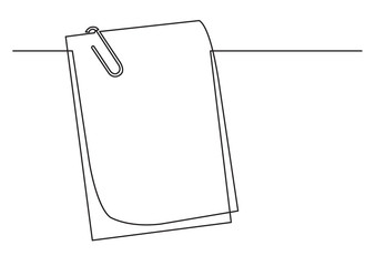 one line drawing of isolated vector object - papers with paper clip