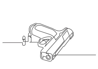 one line drawing of isolated vector object - handgun with bullets
