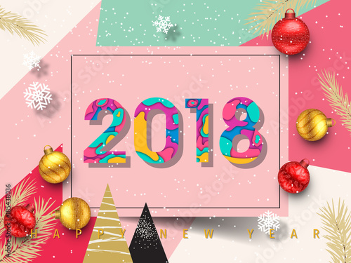 happy new year 2018 and merry christmas background carte de voeux new year greeting