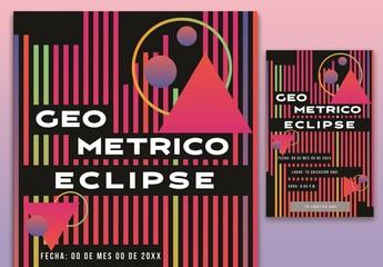 Póster geométrico de eclipse