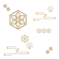 Japanese Pattern vector background. Classic icon from Japan.Gold geometric icons and symbols.