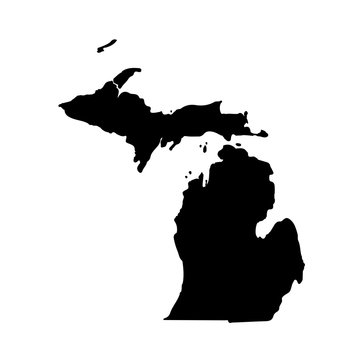 Map of the U.S. state of Michigan on a white background