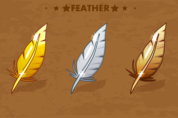 Gold, Silver and Bronze Feather Vector illustration