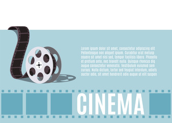 Old movie reel. Template for banner, flyer or poster. Vector illustration