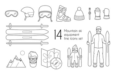 Mountain ski equipment line icons set isolated on white background. Vector winter sport illustration