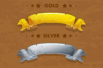Vector cartoon gold and silver old ribbons
