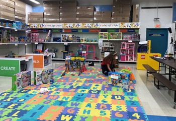 "The ""play lab"", an amusement area, is seen inside the Toys ""R"" Us Inc store in Wallkill"