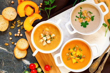 Concept of healthy vegetable and legume soups.