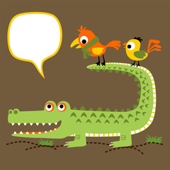 funny crocodile cartoon with two bird