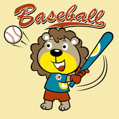 cute baseball player cartoon