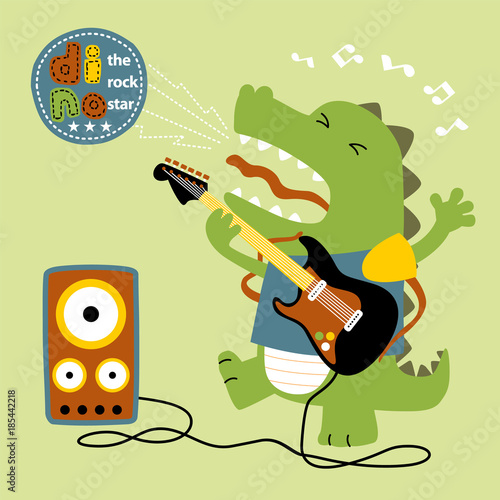Funny Cartoon Vector Dinosaur Playing Guitar
