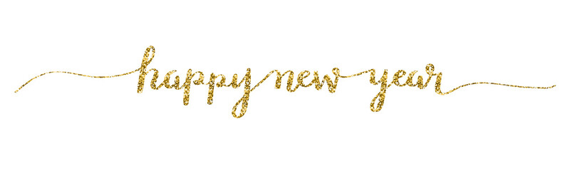 HAPPY NEW YEAR 2018 hand lettered card in gold