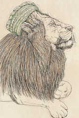 a lion drawn humanist realistic and dressed