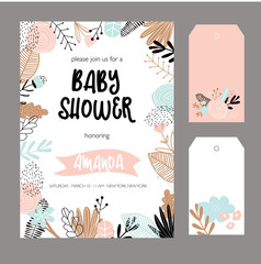 Baby shower invitation template. Floral design elements for decoration. Baby shower holiday greeting cards, vector