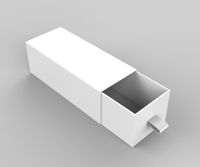 Realistic Package Cardboard Sliding drawer Box with ribbon pull on grey background. For small items, matches, and other things. 3d render illustration