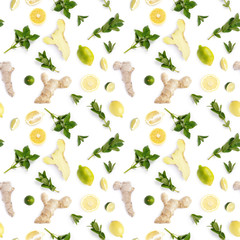 Seamless pattern of fresh vegetables isolated on white background (root of ginger, lemon, mint, avocado), photo. Top view, flat layout.
