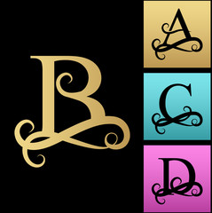 Capital Letter for Monograms and Logos. Beautiful Filigree Font. Black vector letter A, B, C, D. Design modern element logotype