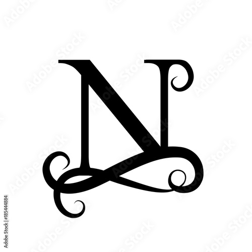 capital letter for monograms and logos beautiful letter black vector letter n design