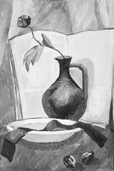 Still life with a vase and a flower in monochrome colors
