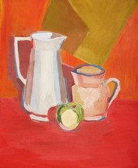 illustration with a two pitchers and a one green apple in warm colors