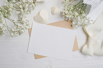 mockup Letter with a calligraphic pen greeting card for St. Valentine's Day in rustic style with place for your text, Flat lay, top view photo mock up