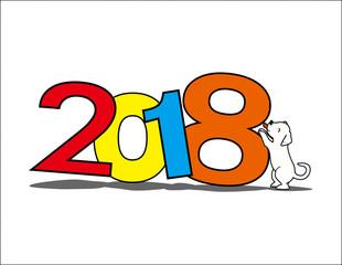 Happy new year 2018 icon, dogs year, celebration
