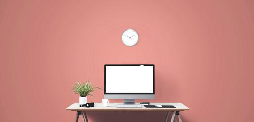 Desktop computer screen isolated. Modern creative workspace background.. Mockup Scene Creator