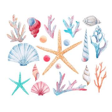 Watercolor coral vector set