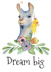 Cute Llama cartoon character watercolor illustration, Alpaca animal, hand drawn style. Dream big