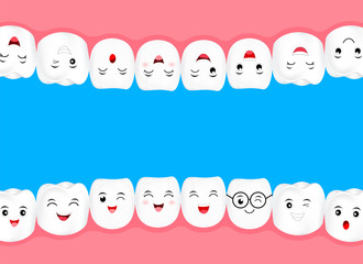 Human teeth in mouth. Emoticons facial expressions. Funny dental care concept. Illustration isolated on blue background.