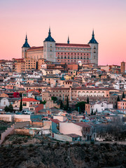 Panorama of Toledo on the sunset and twilight in Spain, Europe