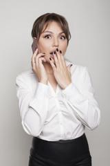 Emotion portrait business woman on white bg